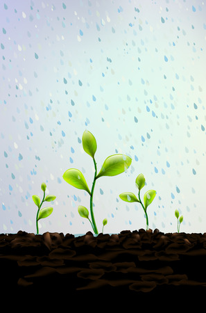 Rain falls on small green plants sprouting from soil illustration. Illustration