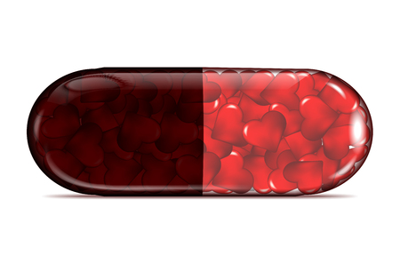 Transparent pill of red hearts with shadow on white background - vector illustration