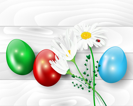Wooden background with easter eggs and daisy flowers - vector illustration