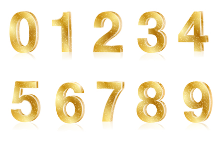 Set of gold metal shiny numbers on white background - vector illustration Illustration