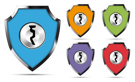 Set of metal shields with keyhole - security concept. Vector illustration. Illustration