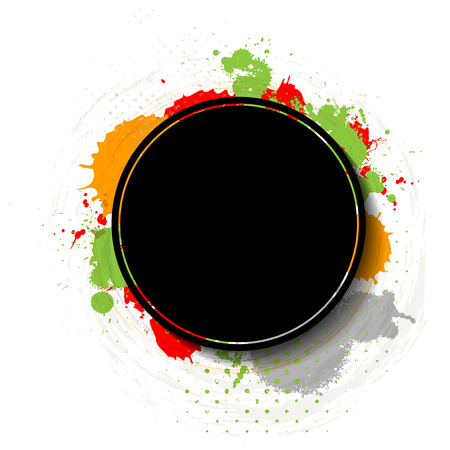 Grungy background with black circle frame for your text - vector illustration