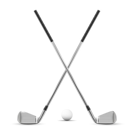 Two crossed golf clubs and ball - isolated on white background. Vector illustration.