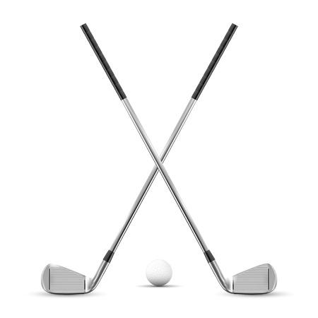 Zwei gekreuzte Golfclubs und Kugel - getrennt auf weißem Hintergrund. Vektor-illustration Standard-Bild - 97345753