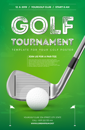 Golf tournament poster template with sample text in separate layer- vector illustration Çizim