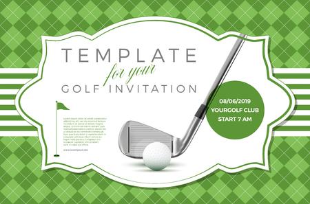 Szablon zaproszenia golfowego z przykładowym tekstem w oddzielnej warstwie ilustracji wektorowych