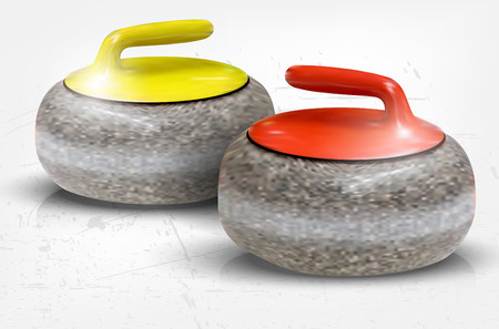 Realistic illustration of curling stones on ice - vector illustration