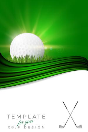 골프 공, 클럽 및 복사 공간-벡터 일러스트와 함께 골프 디자인에 대 한 배경
