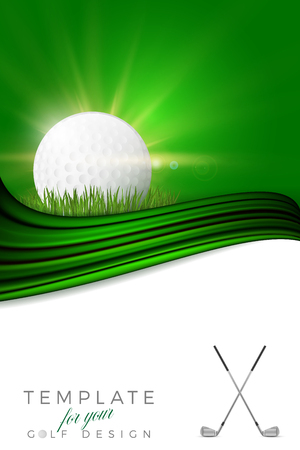 Background for your golf design with golf ball, clubs and copy space - vector illustration