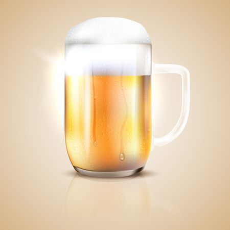 Dewy and shiny glass of beer with reflection - vector illustration