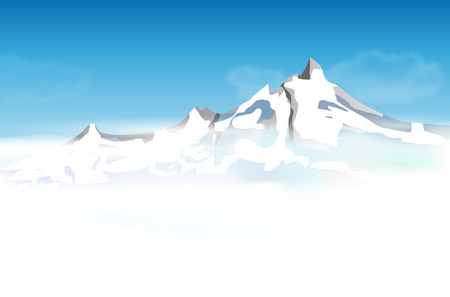 Abstract mountain landscape with low foggy clouds and blue sky - vector illustration