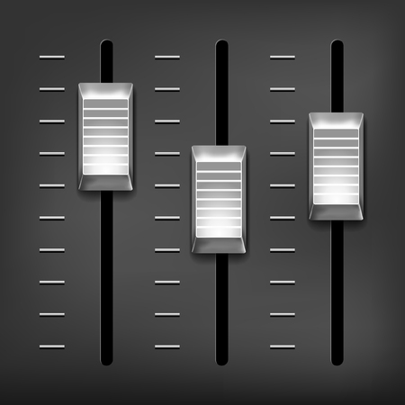 Abstract music equalizer - silver metal sliders on gray background. Vector illustration.
