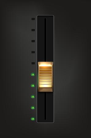 Golden metal slider and green diodes on gray background - vector illustration Illustration