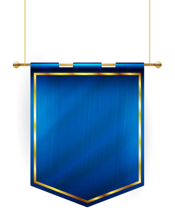 Medieval style blue flag hanging on gold pole - isolated on white background. Vector illustration. Çizim