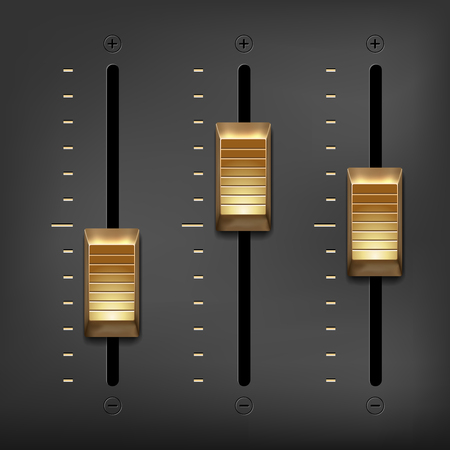 Abstract music equalizer - golden metal sliders on gray background. Vector illustration.