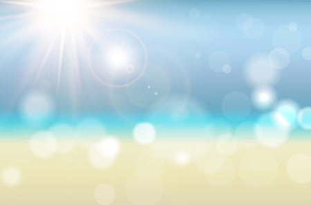 Abstract summer background with sun rays, blurred bokeh, beach, sea and sky - vector illustration