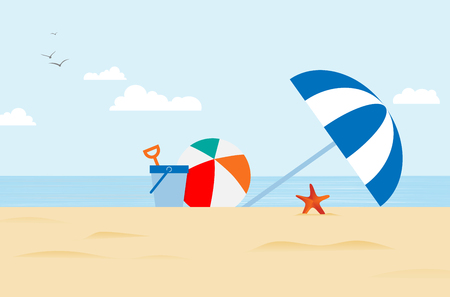 Abstract stylized drawing of sea beach with beach umbrella, balloon, bucket and starfish under blue sky with white clouds and birds - vector illustration