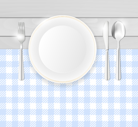 Top view of table with blue table-cloth, porcelain plate and stainless cutlery - copy space for your text. Vector illustration. Ilustración de vector