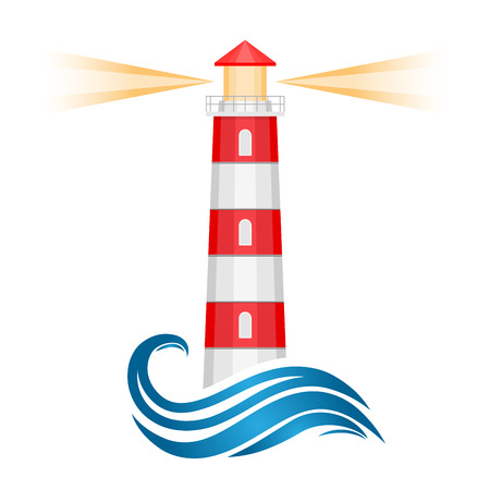 Abstract lighthouse with water wave and light rays - isolated on white background. Vector illustration.
