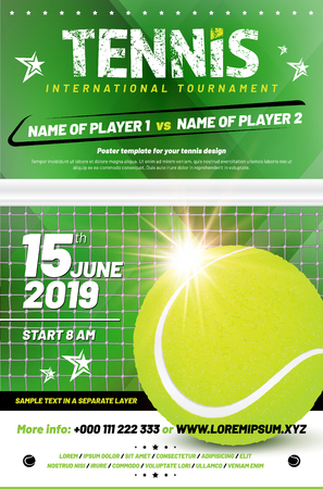 Tennis tournament poster template with sample text in separate layer - vector illustration