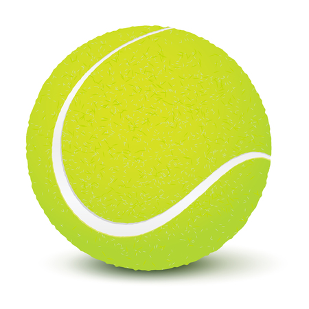 Realistic tennis ball with shadow on white background - vector illustration