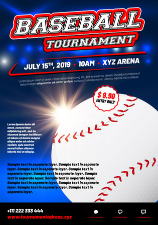 Baseball tournament poster template with shiny ball - sample text in separate layer. Vector illustration.
