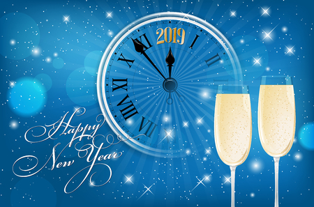 Happy New Year 2019 card - blue shiny background with wish, segment of old clock and glasses of sparkling wine. Vector illustration.