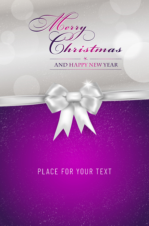 Merry Christmas and Happy New Year violet card with silver bow and shiny bokeh - place for your text. Vector illustration. Stock Illustratie