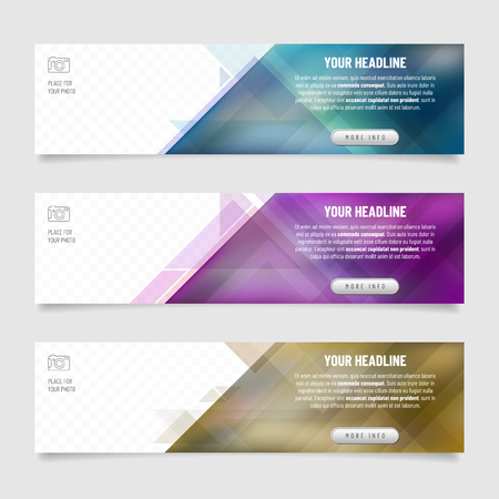 Set of three web banners with abstract triangle background - place for your photo and text. Vector illustration.