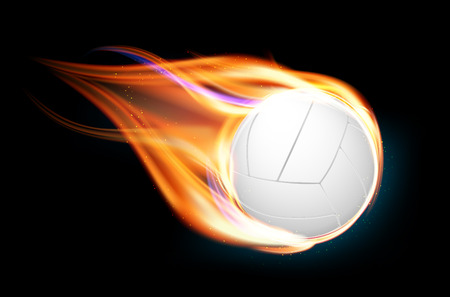 Flying and burning volleyball ball on black background - vector illustration