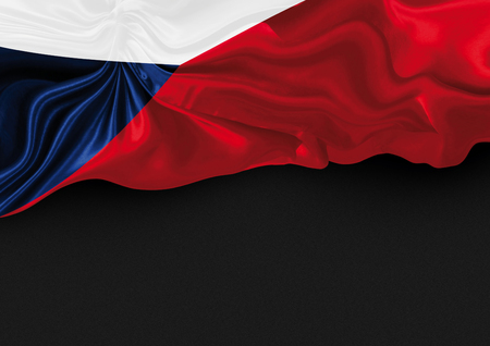Wavy czech flag on dark gray noisy background - place for your text