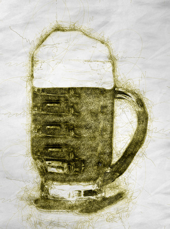 Illustration of beer  in hand drawn style on crumpled paper Stock fotó