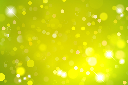 Abstract shiny green background with blurred bokeh lights - vector illustration