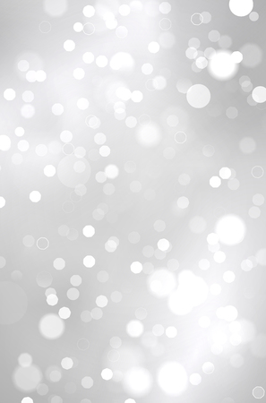 Abstract shiny silver background with blurred bokeh lights - vector illustration