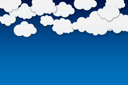 Abstract clouds on blue background - place for your text. Vector illustration. Ilustrace