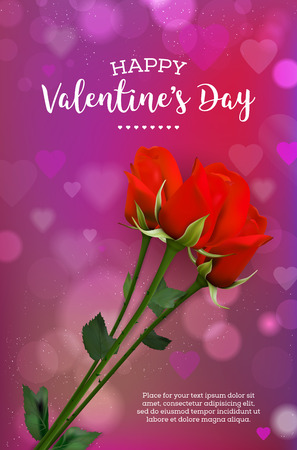 Valentines card with rose flowers and abstract shiny bokeh lights and hearts on background - copy space for your text. Vector illustration.
