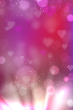 Valentines day pink background with abstract hearts and shiny light rays - vector illustration Ilustrace