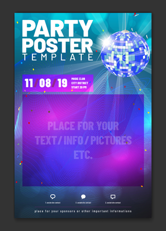 Template for your party poster with sample text in separate layer - vector illustration Ilustrace