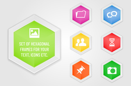 Set of hexagonal frames - modern design template for your text, icons etc. Vector illustration. Ilustrace