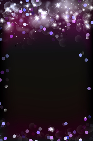 Abstract dark background with shiny blurred bokeh lights and stars. Copy space for your text. Vector illustration.