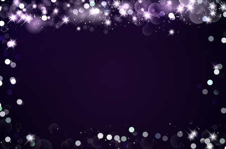 Dark background with frame of shiny blurred bokeh lights and stars. Copy space for your text. Vector illustration.
