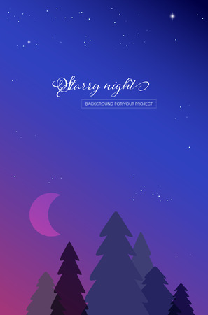 Abstract night landscape with tree silhouettes and starry night sky with moon - vector illustration