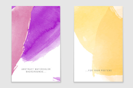 Two abstract watercolor poster backgrounds with shadows and place for your text. Vector illustration.