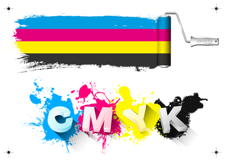 CMYK print design elements - paint roller, 3D letters, color splashes and print signs - isolated on white background. Vector illustration.
