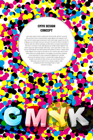 CMYK print design concept background with color dots, 3D letters and place for your text. Vector illustration. Ilustrace