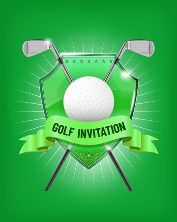 Golf elements design with shield, golf clubs, ball and ribbon on green background - vector illustration