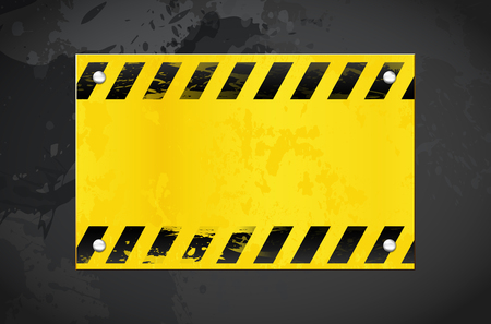 Dark grungy background and yellow warning metal banner with place for your text - vector illustration