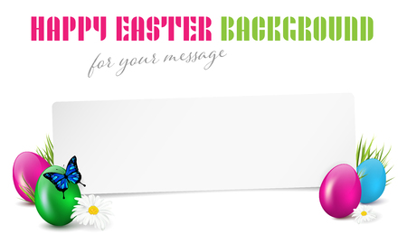 Happy Easter paper card with easter eggs, grass, flowers and butterfly - isolated on white background. Place for text. Vector illustration.