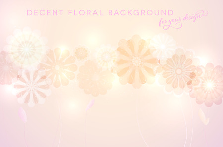 Bright and decent background with abstract flowers and place for text - vector illustration