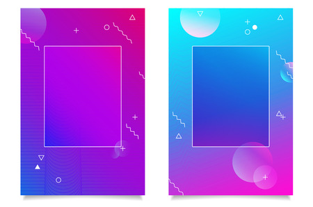 Two abstract backgrounds with modern gradients, geometric elements, shadows and empty frame for your text - vector illustration